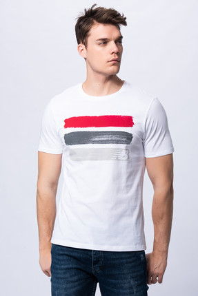 New Balance Erkek T-shirt - 3 Brush TEE - V-MTT903-WT