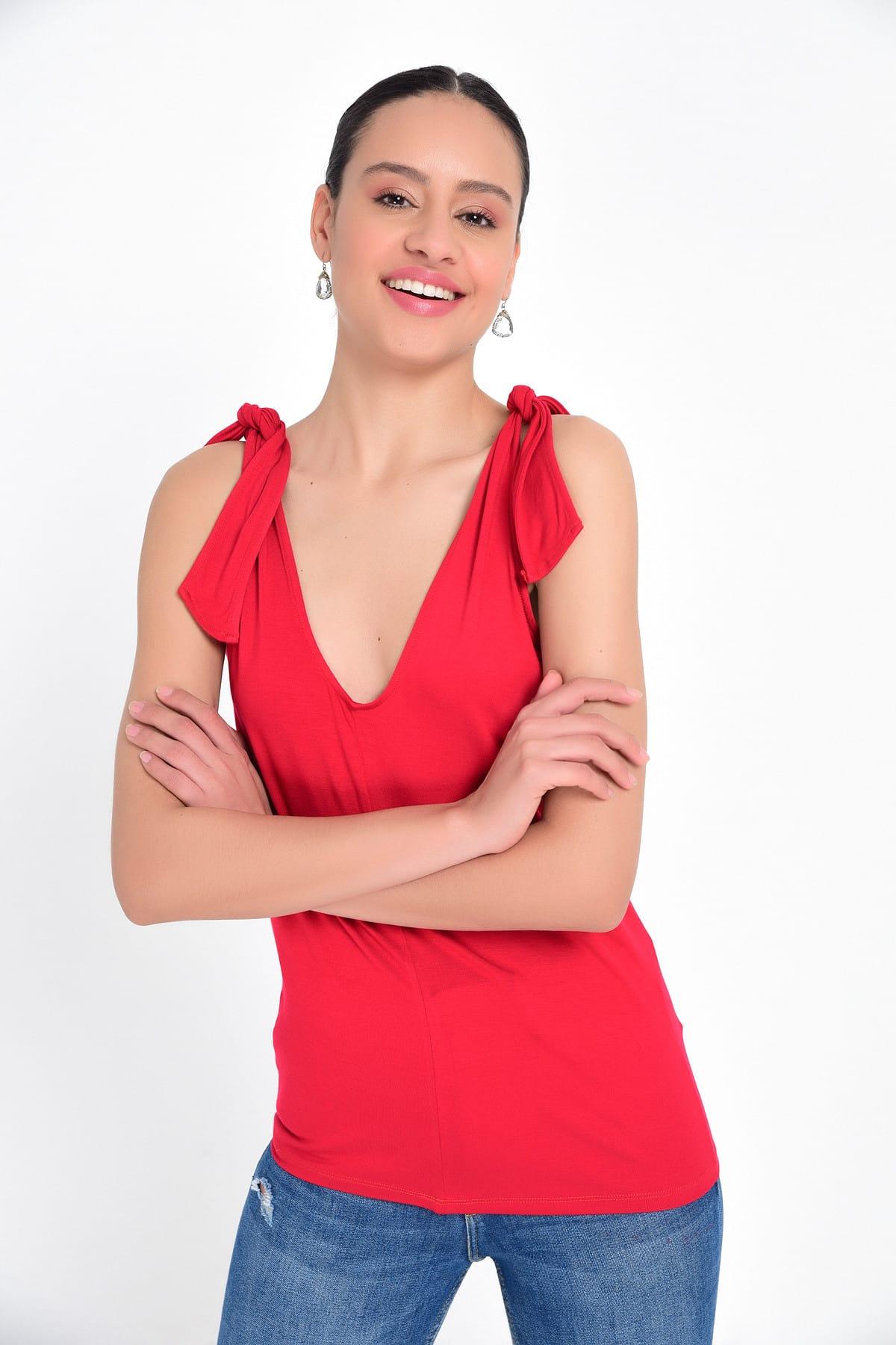Hanna's by Hanna Darsa Kadın Kırmızı Omuzdan Fiyonk Bağlamalı Basic Atlet HN1820 2