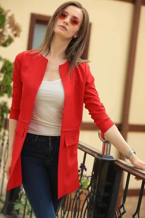 armonika Kadın Kırmızı Beli Dikişli Uzun Ceket ARM-18K001308