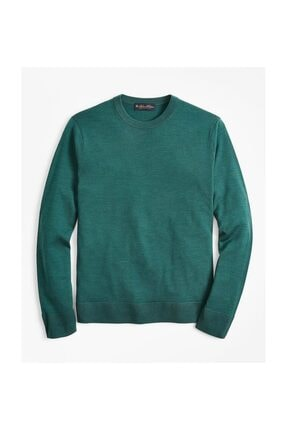 BROOKS BROTHERS Swt Wl Easy Care Crew New Fır Green