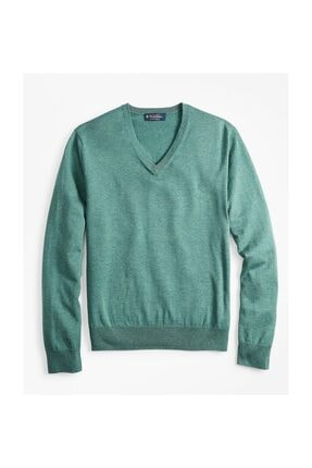 BROOKS BROTHERS Swt New Supctn Vnck Green Teal Htr