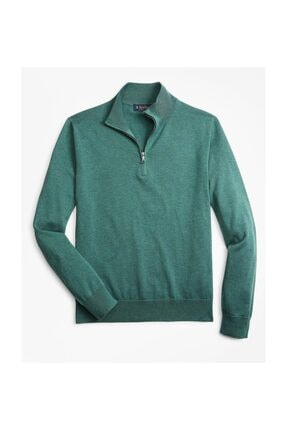 BROOKS BROTHERS Swt New Supctn Half Zıp Green Teal Htr