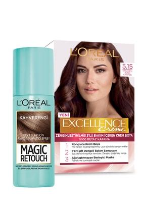 L'Oreal Paris Saç Boyası - Excellence Creme 5.15& Magic Retouch 03 Chatain 75 ml 36005231933561