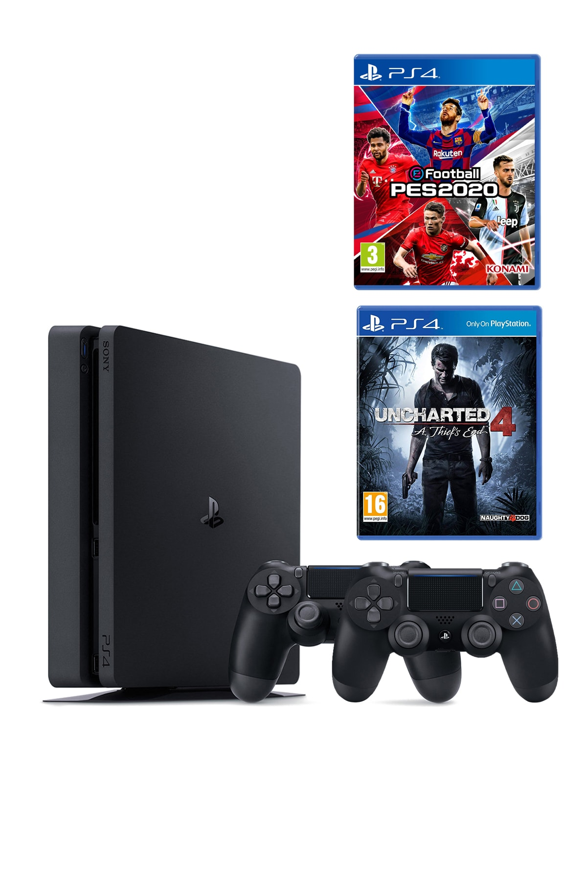 Sony Playstation 4 Slim 500 GB + 2. PS4 Kol + PS4 Pes 2020 + PS4 Uncharted 4 1
