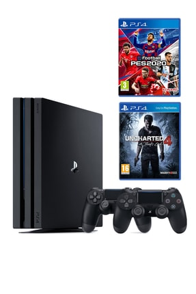 Sony Playstation 4 Pro 1 TB + 2. PS4 Kol + PS4 Pes 2020 + PS4 Uncharted 4