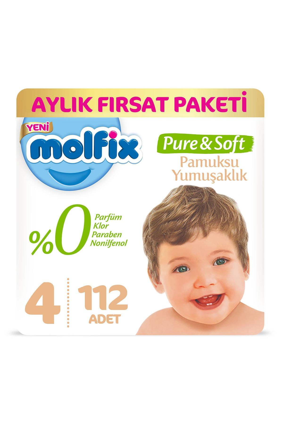 Molfix Pure&Soft Bebek Bezi 4 Beden Maxi Aylık Fırsat Paketi 112 Adet 1