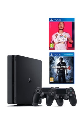 Sony Playstation 4 Slim 500 GB + 2. PS4 Kol + PS4 Fifa 2020 + PS4 Uncharted 4