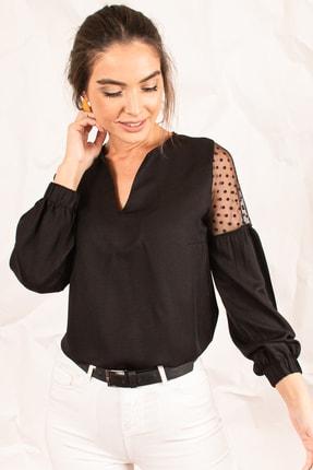 armonika Kadın Siyah V Yaka Kolu Tüllü Balonlu Bluz ARM-20K001038