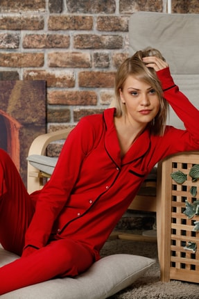 ELİTOL Kadın Kırmızı Düğmeli Uzun Kol Pamuklu Likralı Pijama Takım