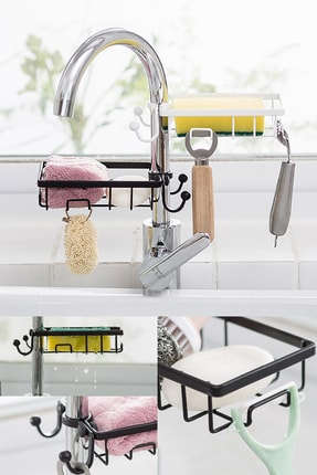 Buffer Paslanmaz Çelik Mutfak Banyo Musluğuna Sabitlenebilir Sabun ve Sünger Tutucu