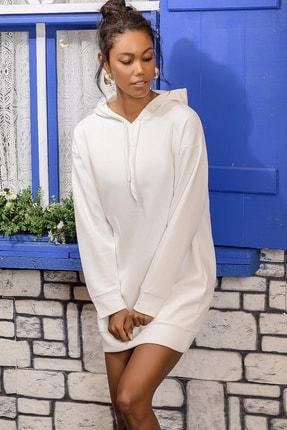 Trend Alaçatı Stili Kadın Ekru Kapüşonlu Sweat Elbise ALC-018-109-TE