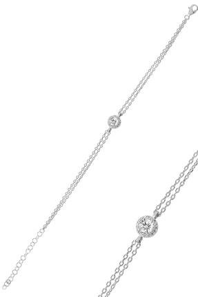Söğütlü Silver Gümüş Pırlanta Montürlü Tek Taşlı Bileklik SGTL9914