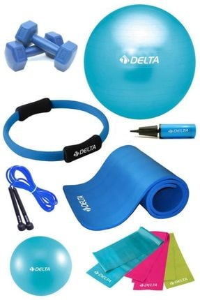 Delta 10 MM Minderli PTS Turkuaz Full Pilates Seti (65 cm 20 cm)