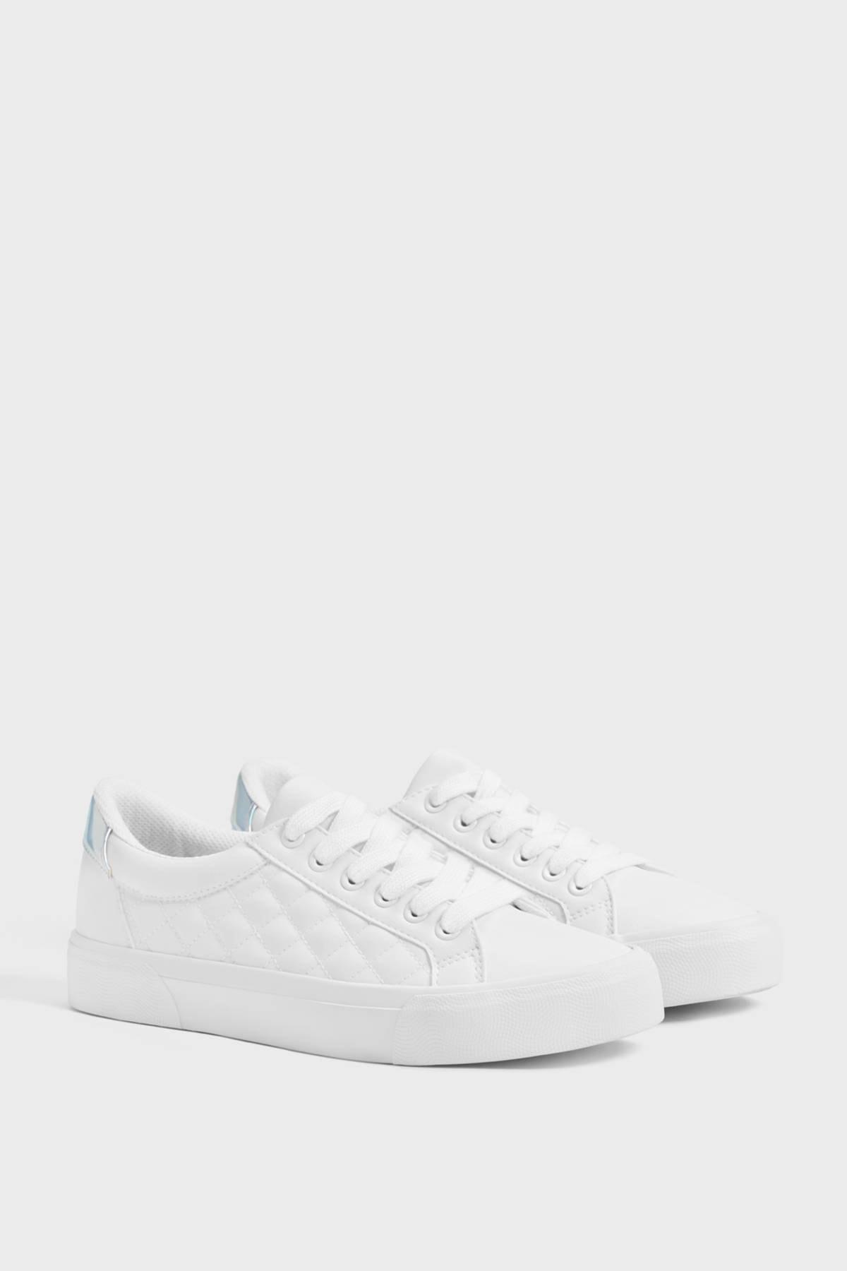 Bershka Kadın Beyaz Kapitone Sneaker 11402560 1