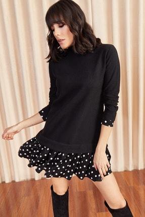 Olalook Kadın Siyah Beyaz Garnili Selanik Elbise ELB-19000965