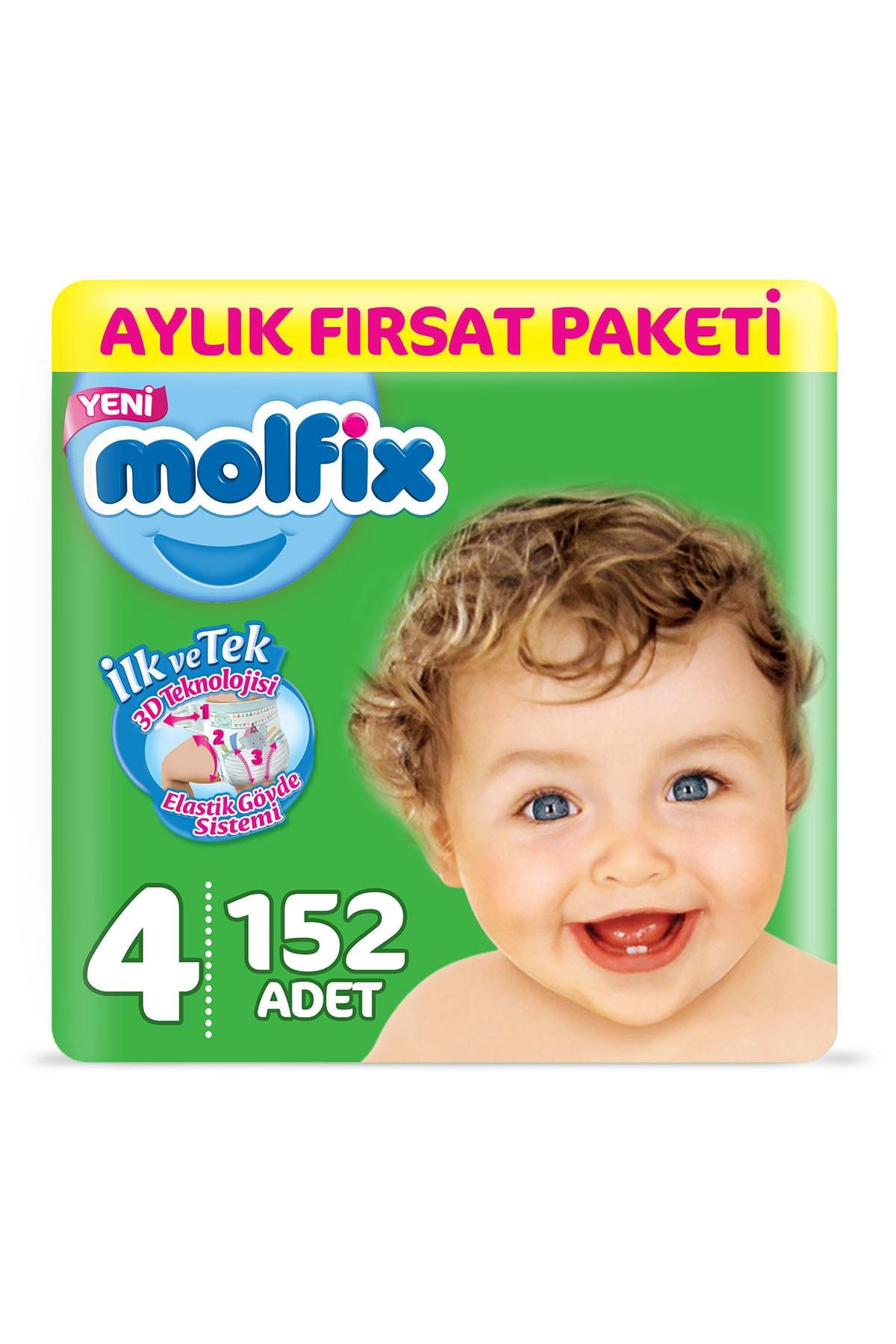 Molfix Bebek Bezi 4 Beden Maxi Aylık Fırsat Paketi 152 Adet 1