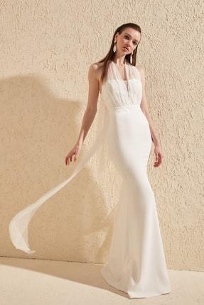 TRENDYOLMİLLA Ekru İnci Detaylı Abiye & Mezuniyet Elbisesi TPRSS20AE0086