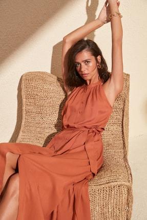 TRENDYOLMİLLA Tarçın Kuşaklı Gömlek Elbise TWOSS19XM0112