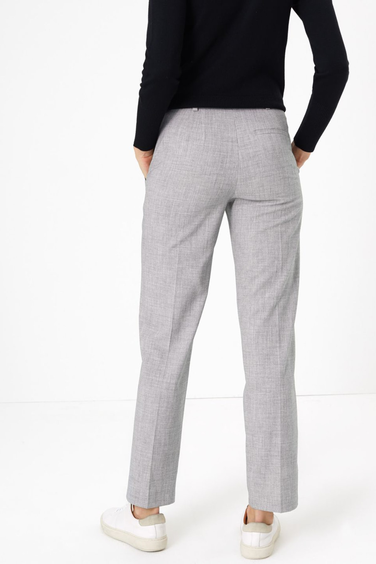 Marks & Spencer Kadın Gri Straight Leg Pantolon T59005977 2