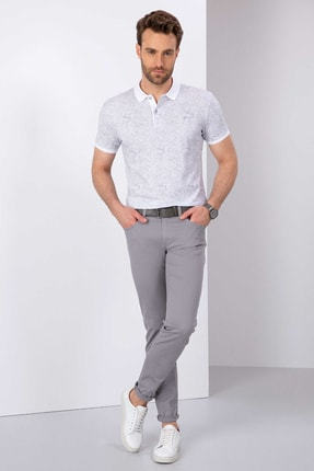 Pierre Cardin Erkek Gri Slim Fit Chino Pantolon