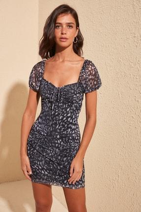TRENDYOLMİLLA Lacivert Desenli Büzgülü Örme Elbise TWOSS20EL1363