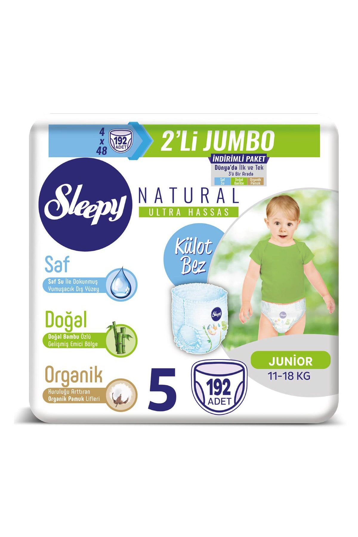 Sleepy Natural Külot Bez 5 Beden Junior 4X2'li Jumbo 192 Adet 1