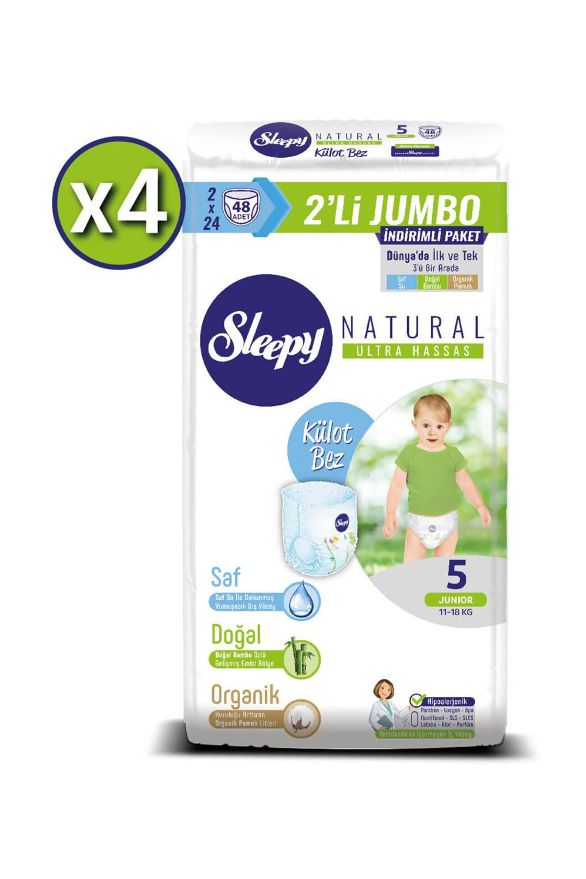 Sleepy Natural Külot Bez 5 Beden Junior 4X2'li Jumbo 192 Adet 2