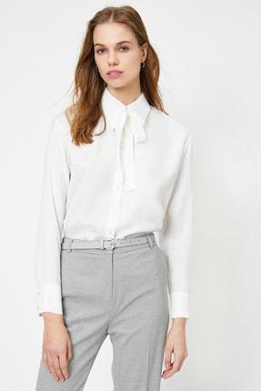 Koton Kadın Ekru Fular Yaka Gömlek 0YAK68035PW