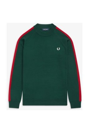 Fred Perry Broken Tipped Over Arm Crew Neck Erkek Triko K7523 Yeşil