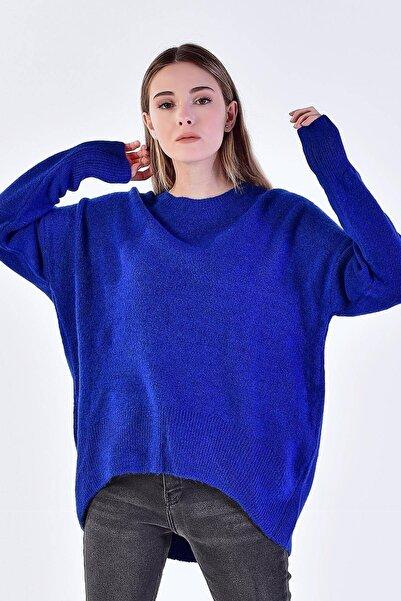 Kadın Saks Mavi Eteği Kavisli Triko Kazak ADX-00006420