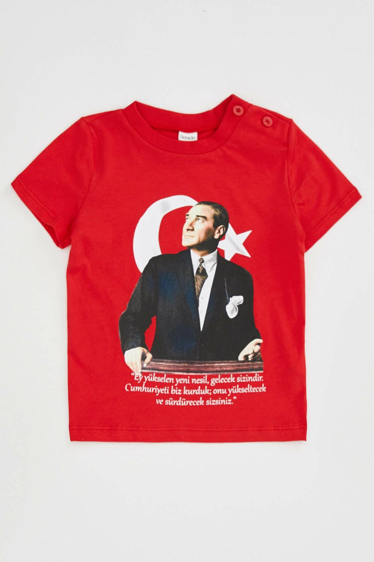 DeFacto Erkek Bebek Kırmızı 23 Nisan Atatürk Baskılı Kısa Kollu T-shirt 1