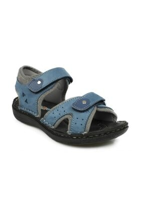 Toddler 7029 Çift Cırt Mavi Çocuk Sandalet