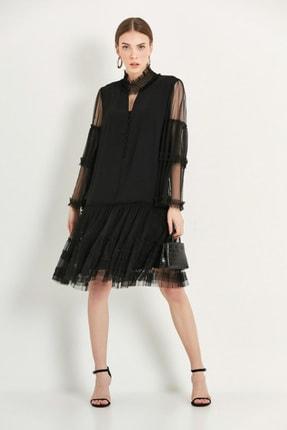 Say Kadın Siyah Tül Detaylı Abiye Elbise 1925107SIY