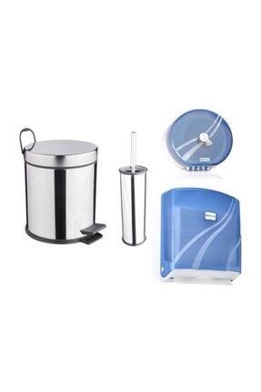 Aksesuaros Avm/ev/ofis Banyo Tuvalet Seti (çöp Kovası-fırça-plastik Kağıtlık-kağıt Havluluk)