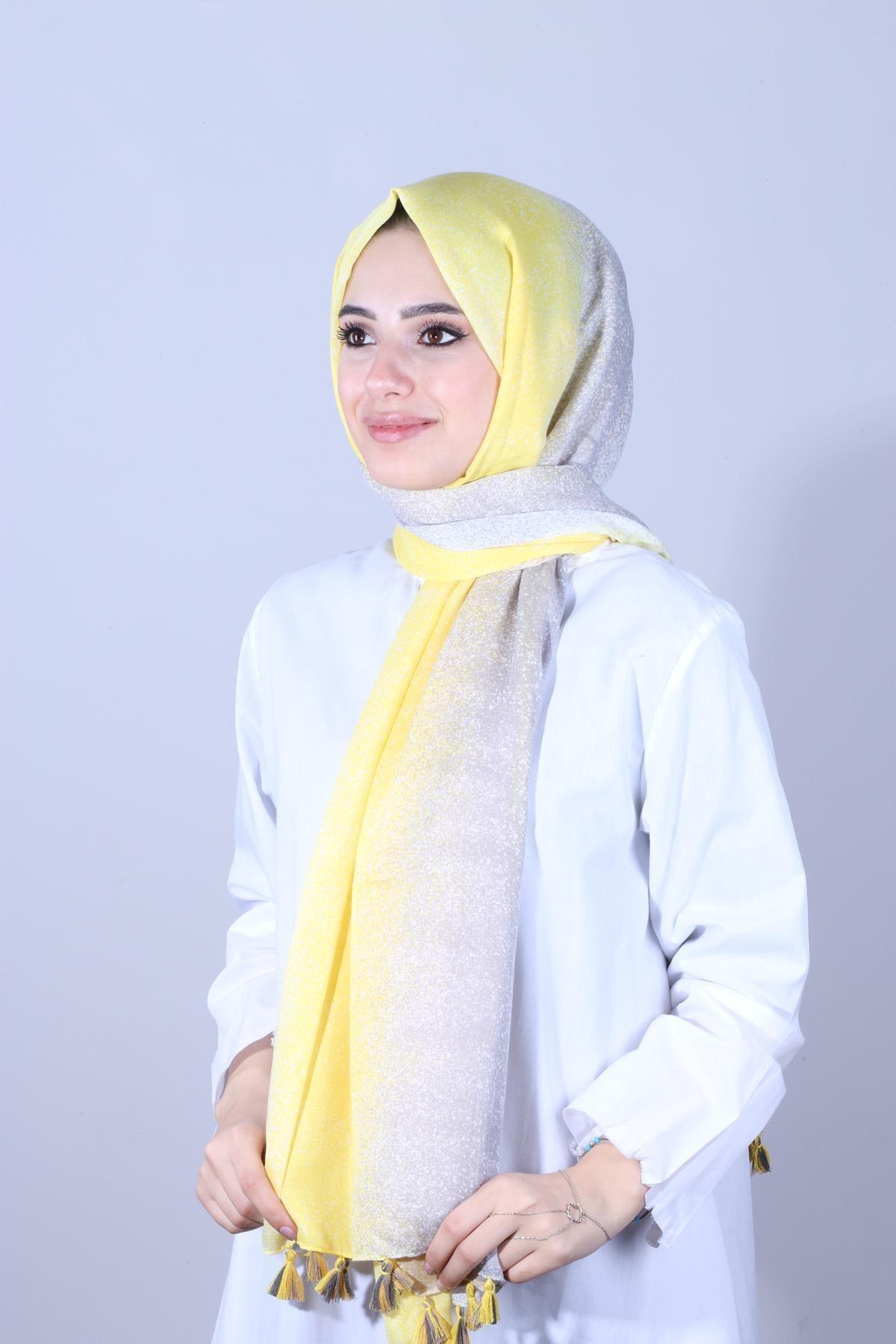 Y-London Kadın Sarı  Degradeli Püsküllü Sarı Şal SAL-6865