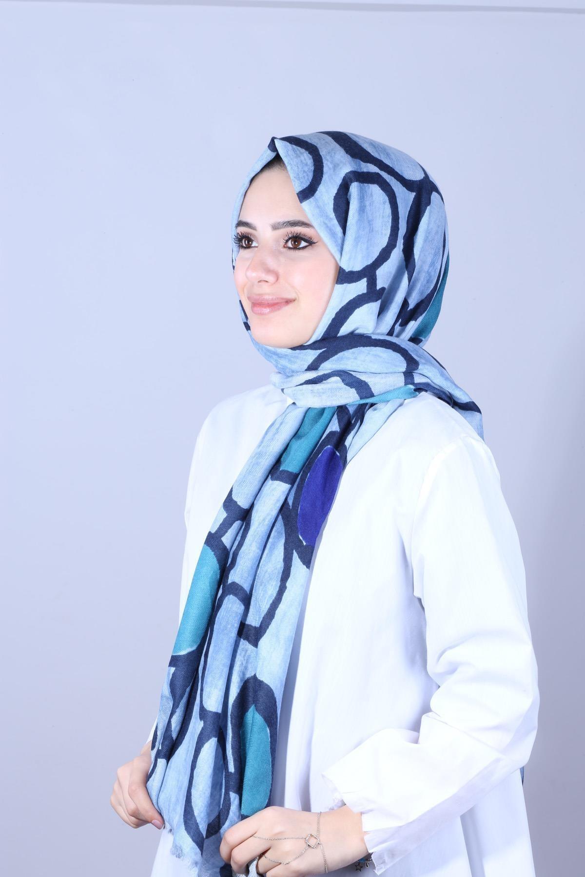 Y-London Kadın Mavi  Desenli Mavi Renk Şal SAL-6745