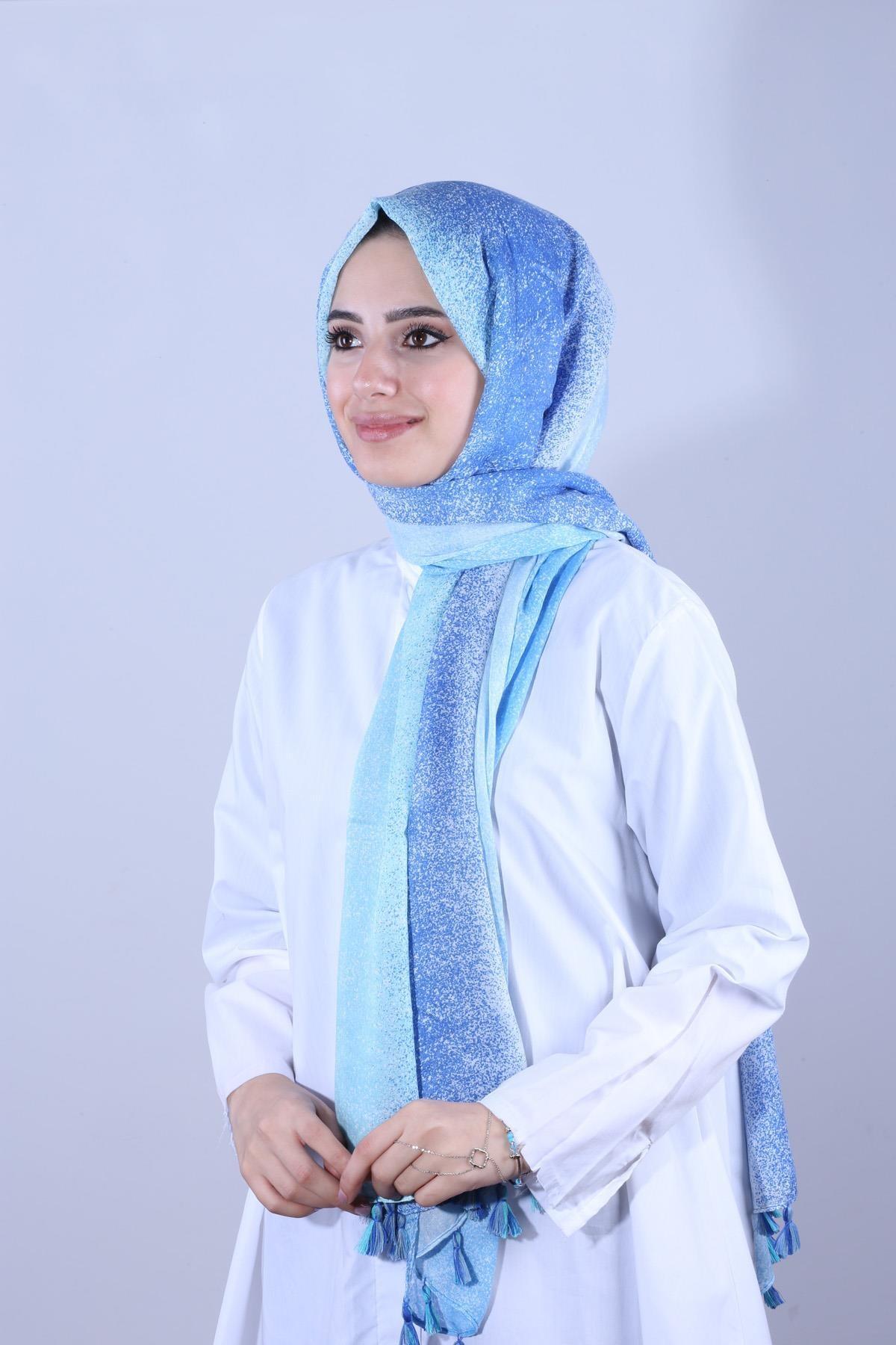 Y-London Kadın Mavi  Degradeli Püsküllü Mavi Şal SAL-6864