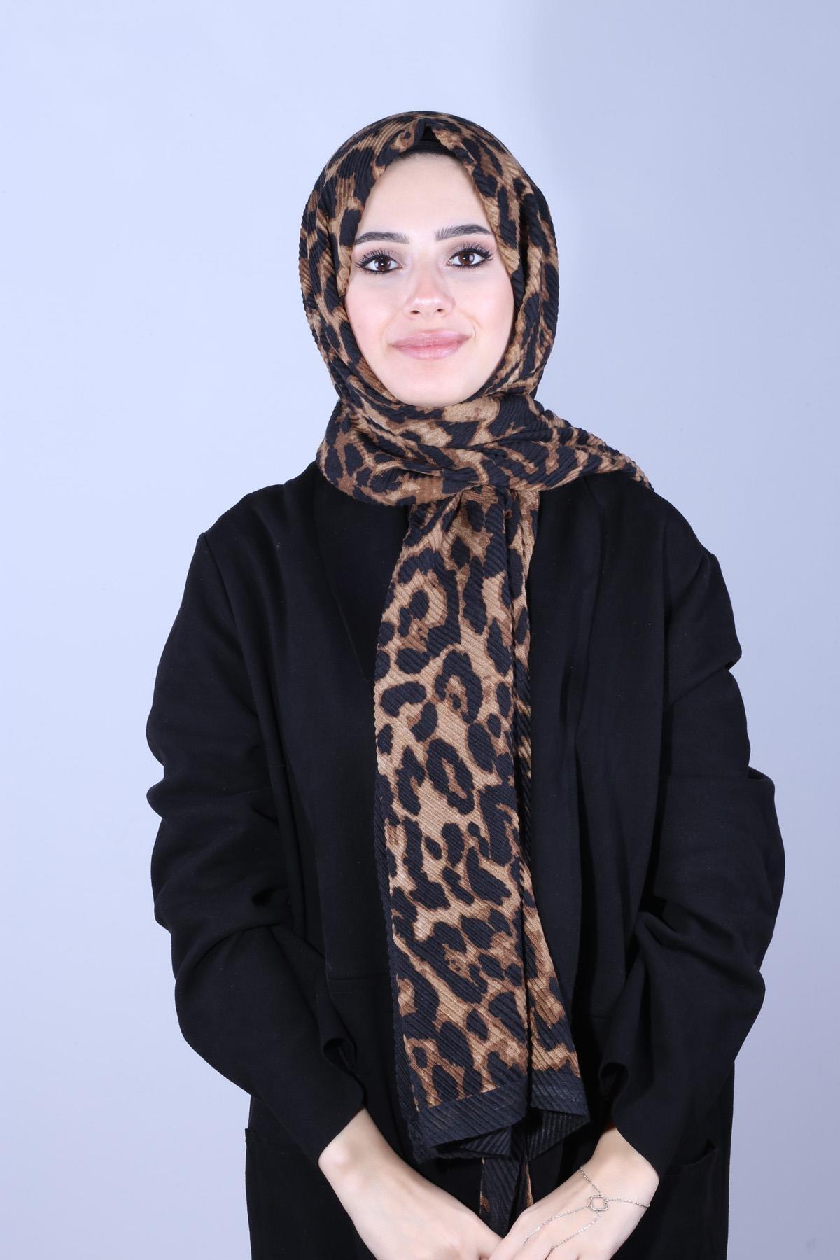 Y-London Kadın Kahverengi  Pliseli Leopar Kalın Şal SAL-6756