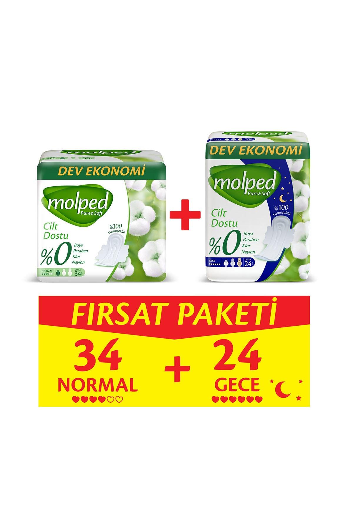 Molped Pure&Soft Normal 34 Adet + Gece 24 Adet Fırsat Paketi