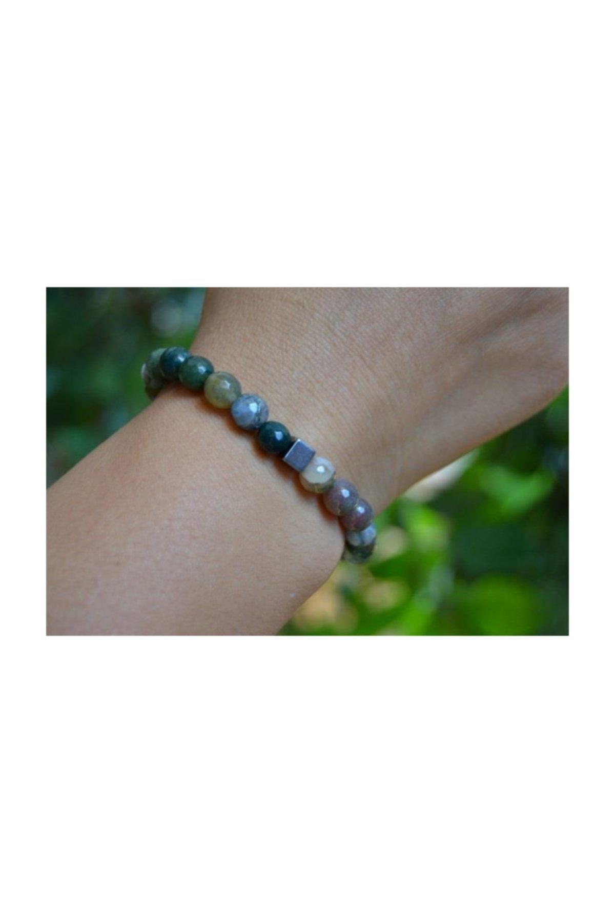 Stoneage Unisex Yeşil Jewellery Hint Akiği Bileklik 1