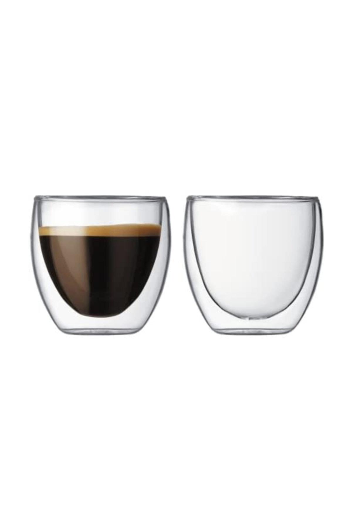 TROY Çift Cidarlı Bardak Double Wall Glass Espresso Bardağı 2'li Set 80 ml 2,7 Oz 1