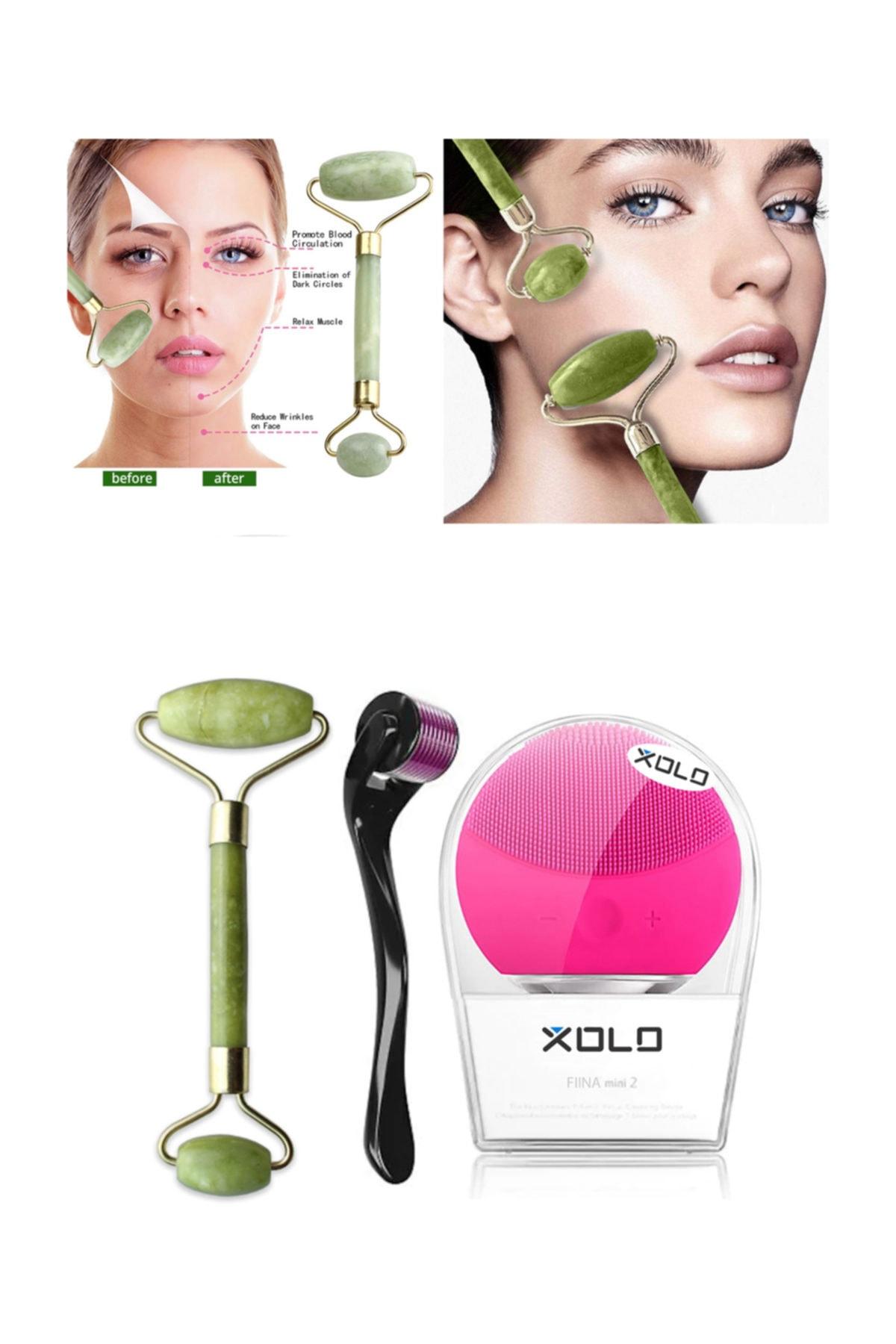 xolo Dermaroller 0,5 mm Saç Çıkarma + Şarj Edilebilir Fuşya Yüz Temizleme + Jade Roller 2'li Yeşim Taşı 2