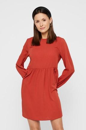 PIECES Kadın Kırmızı Sırtı Bağlama Detaylı Bilekleri Lastikli Uzun Kollu Elbise 17106822 PCJULY