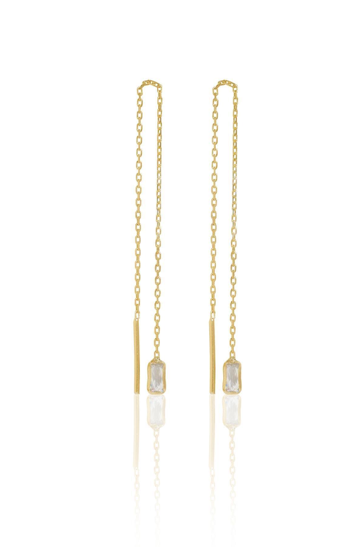 İzla Design Kadın Baget Taşlı Sallantılı Altın Kaplama Gümüş İtalyan Küpe PKT-TLYSLVR0741 1