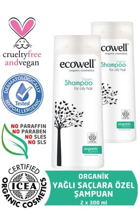 Ecowell Yağlı Saçlar İçin Organik Şampuan 2'li Set  (2 X 300 ml)