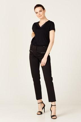 Ekol Kadın Siyah Cebi Taşlı Fleto Cepli Pantolon 20Y.EKL.PNT.02202.1