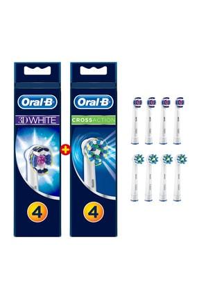 Oral-B Diş Fırçası Yedek Başlığı Fırsat Paketi 8 Adet (Pro White 4 Adet + Cross Action 4 Adet)