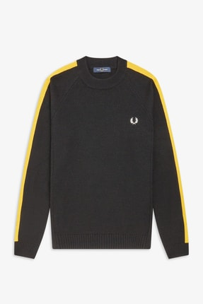 Fred Perry Broken Tipped Over Arm Crew Neck Erkek Triko K7523 Siyah