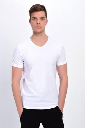 DYNAMO Erkek Beyaz V Yaka Likralı Basic T-shirt T339
