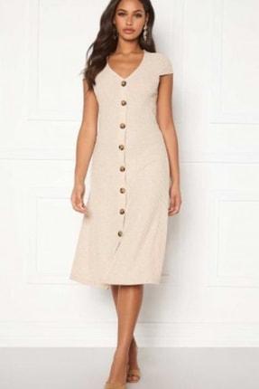 Only Kadın Ekru Kısa Kollu Düğme Detaylı V Yaka Örme Elbise 15202197 ONLNELLA